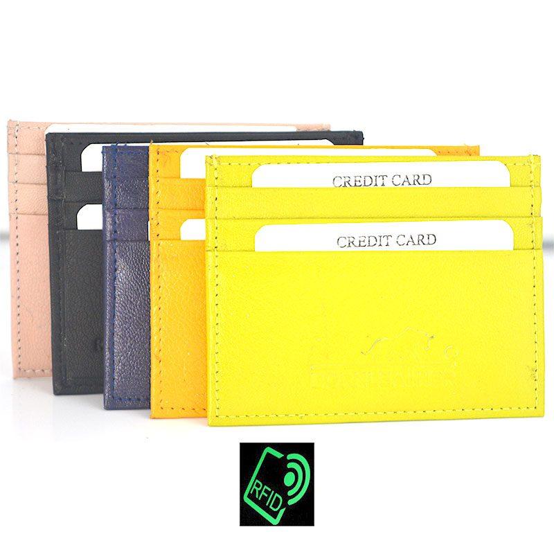 RFID Blocking Slim Genuine Leather Card Holder