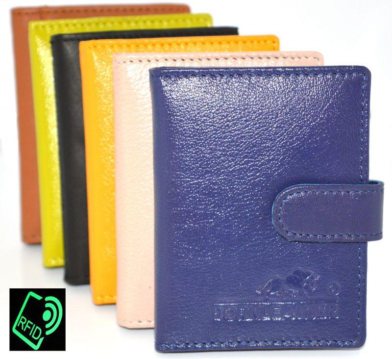 RFID Protected Slim Genuine Leather Credit Card Holder