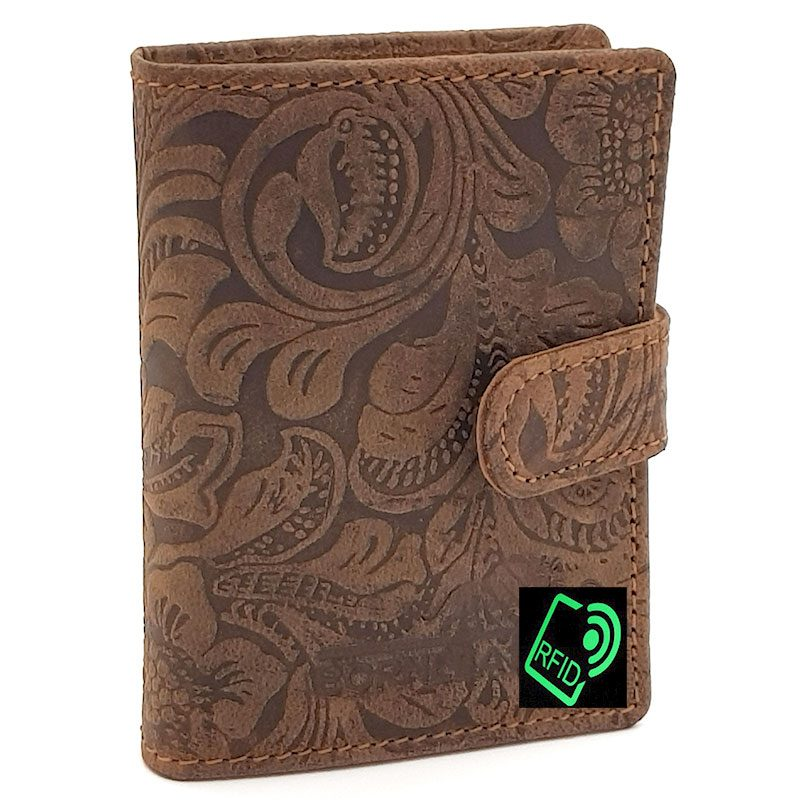 Leather Card Holder Embossed Brown