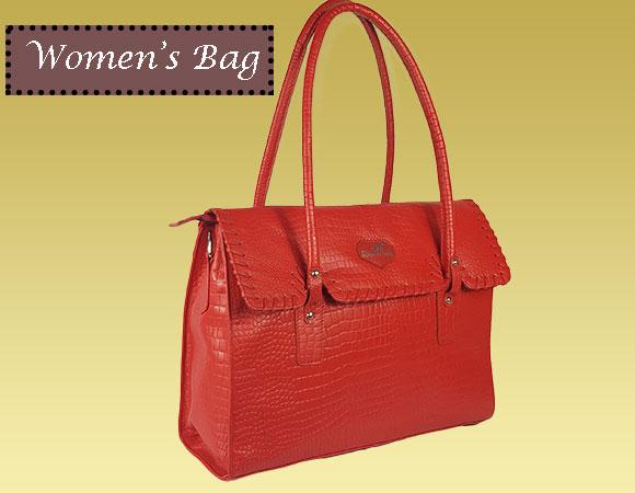 Women's Real Leather Crocodile Print Hand Bag